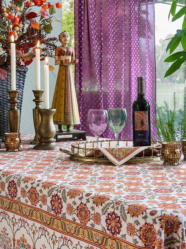 Indian Sari Curtain Purple Gold Saffron Marigold
