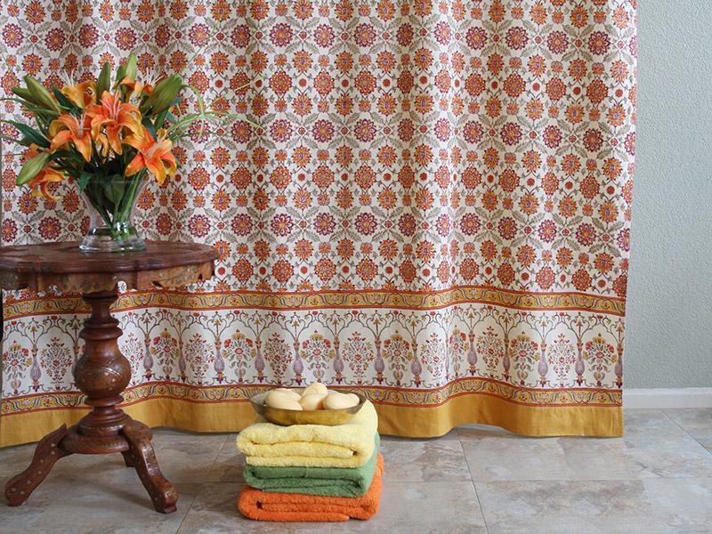 Orange And Yellow Shower Curtains Mediterranean Shower
