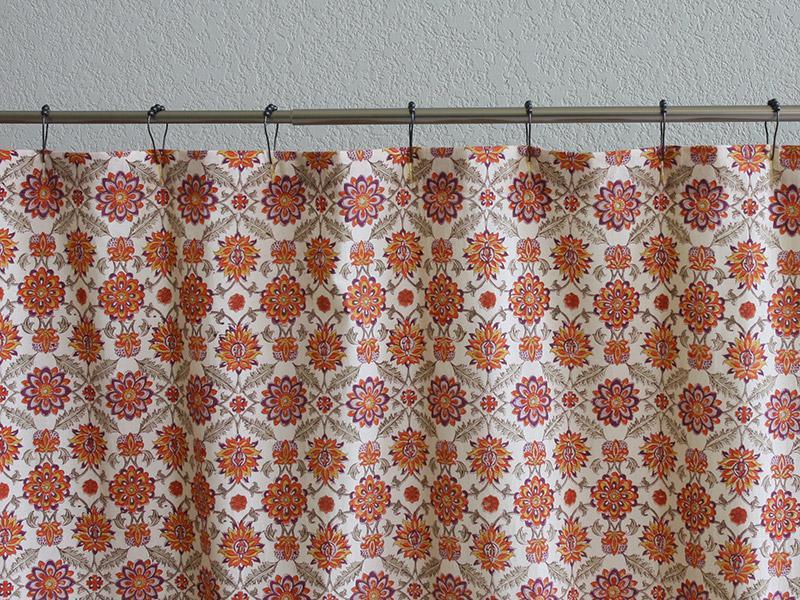 Orange and yellow Shower Curtains Mediterranean Shower Curtains