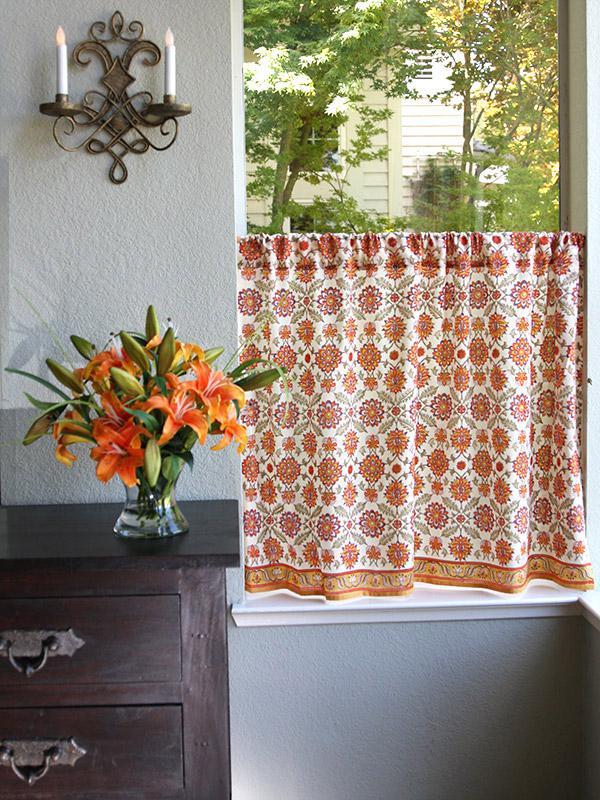 Orange Kitchen Curtain Mediterranean Floral Saffron