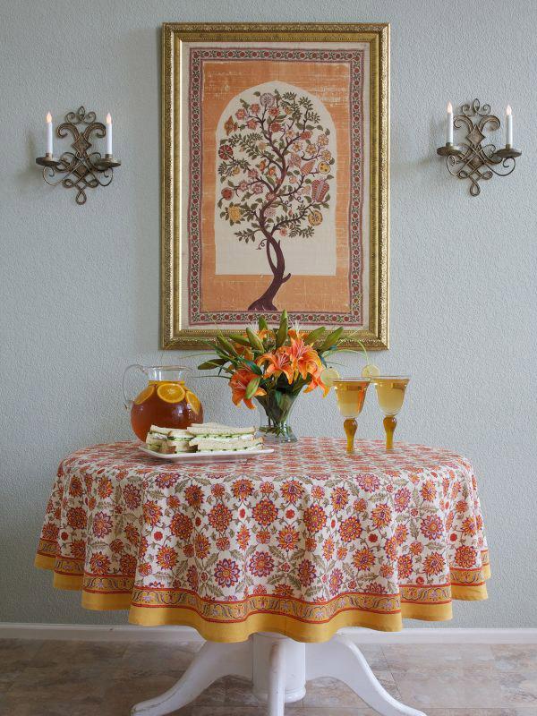 Mediterranean Round Tablecloth Orange And Yellow Round