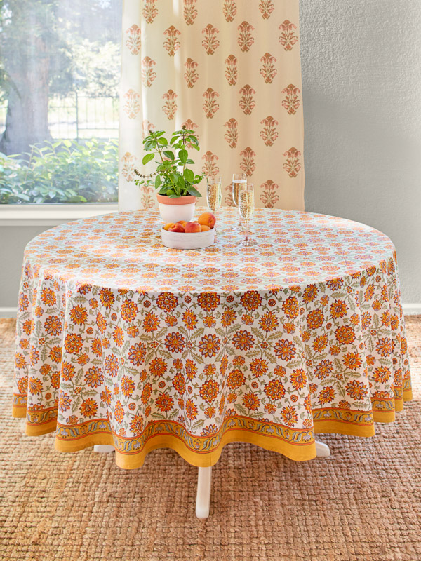 Orange tablecloth floral pattern block printed
