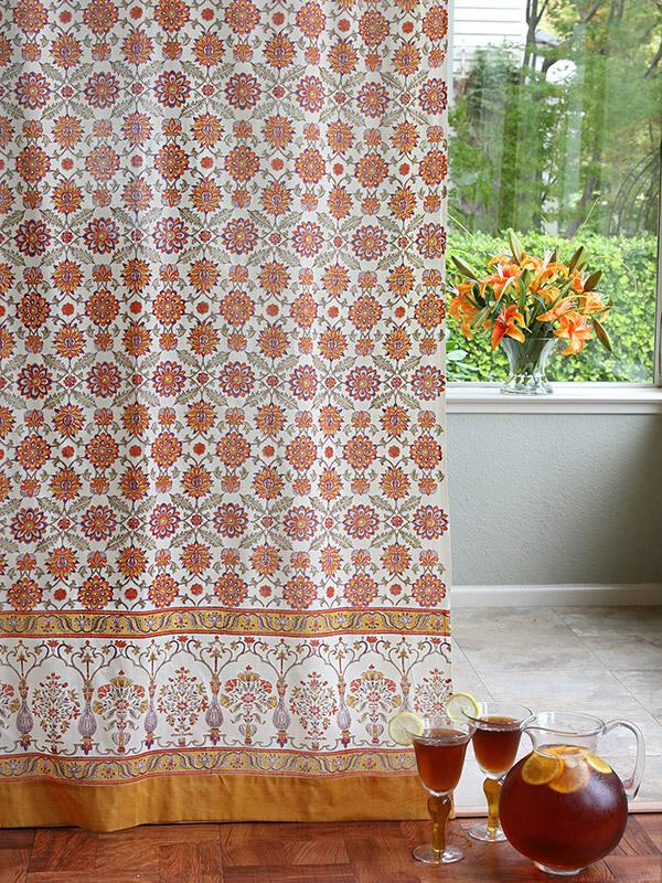 Orange Floral Curtain Panel Vintage Cream Curtain Panel