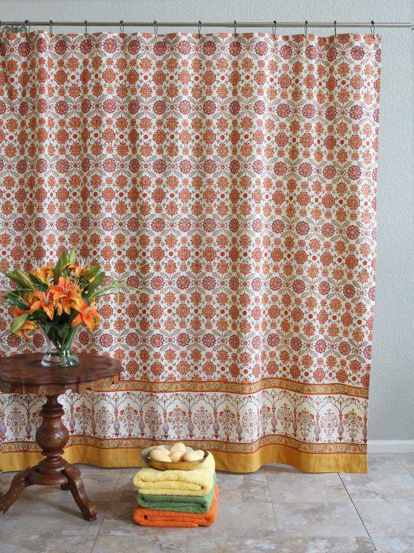 Orange And Yellow Shower Curtains Mediterranean Persian Fabric Sh