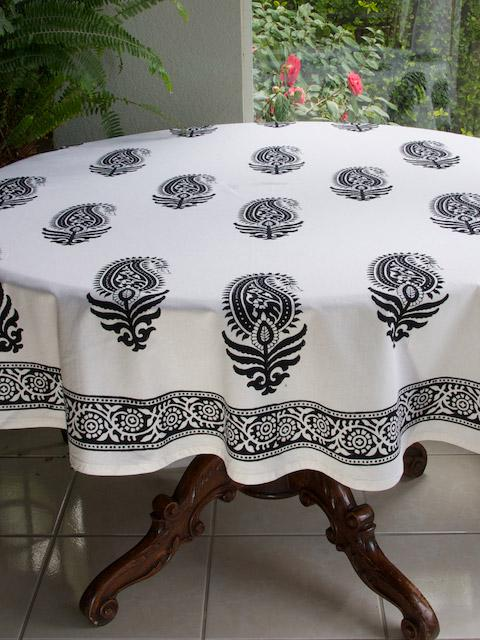 Black And White Tablecloth, Paisley Tablecloth, 90 Round Tablecloth, 70  Round Tablecloths | Saffron Marigold