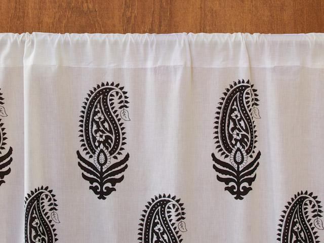 Paisley Au Lait Contemporary Black And White Curtain Panel