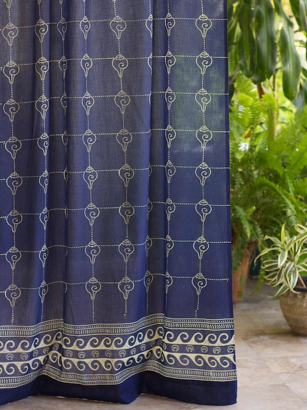Rustic Navy Blue Curtain Panel Asian Insipired Curtain