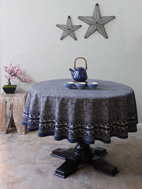 Navy blue and white wave patterned table linens for coastal home decor