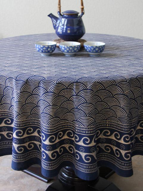 Rustic Navy Blue Round Tablecloth, Asian Insipired Tablecloth, Cotton Round  Tablecloth   Saffron Marigold