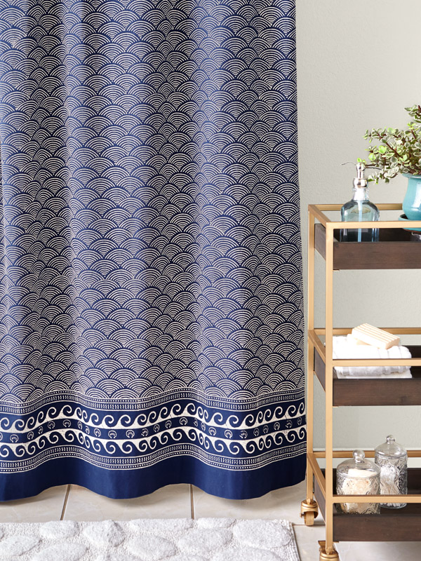 pacific dark blue shower curtain with waves and shell print, block printed