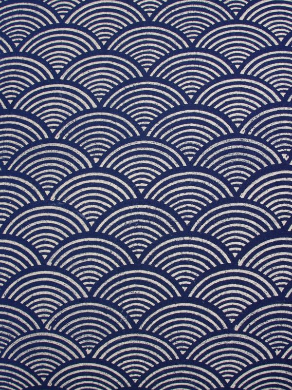 Blue And White Fabric Swatch Waves Printed Saffron