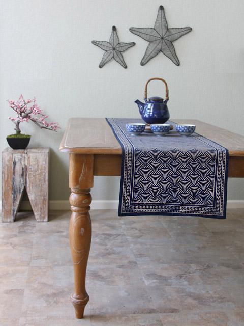 Rustic Navy Blue Table Runner, Asian Insipired Table Runner, Oriental Table  Runner, Cotton Table Run | Saffron Marigold