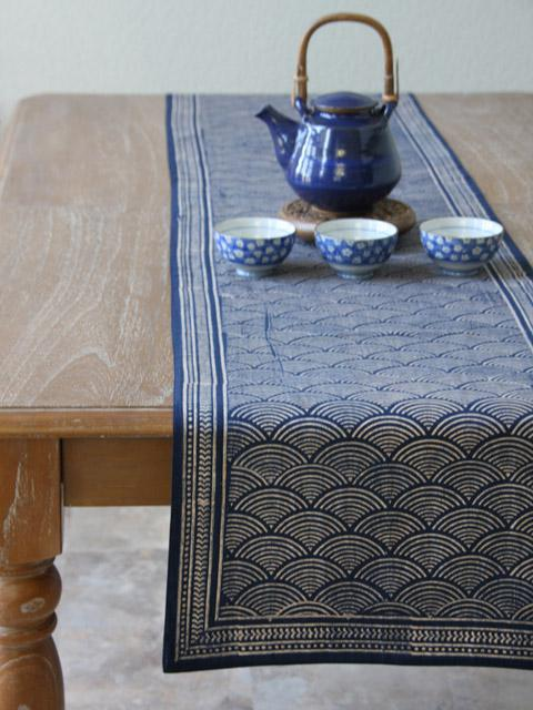 Charming Pacific Blue ~Rustic Navy Blue Ocean Oriental Asian Table Runner