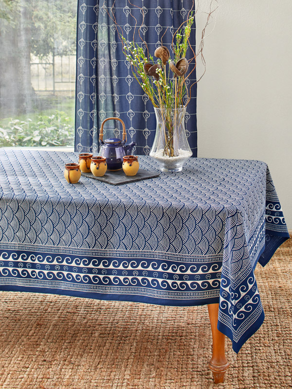 Navy Blue Tablecloth Asian Oriental