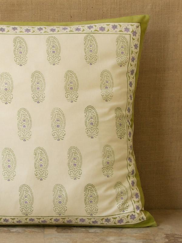 Paisley Euro Sham Lime Green Sham Cream Pillow Sham