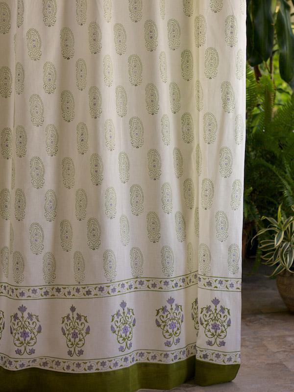 Paisley Curtain Lime Green Curtain Cream Curtain Sheer