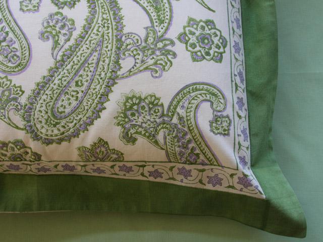 Paisley Pillow Shams Lime Green Pillow Cream Pillow