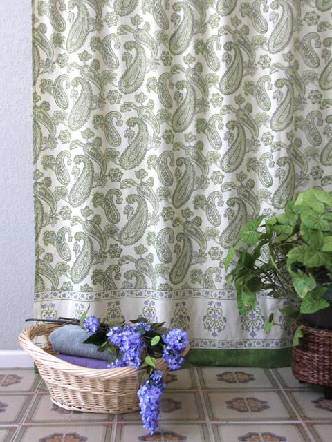 Paisley Shower Curtain Lime Green Cream