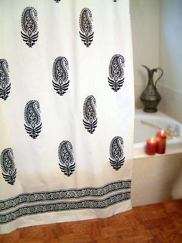 Modern Shower Curtains Black And White Curtain Paisley Bath