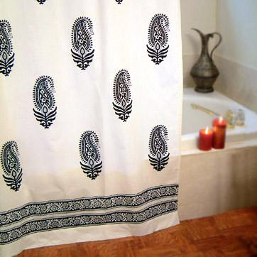 100% cotton fair trade Indian shower curtain