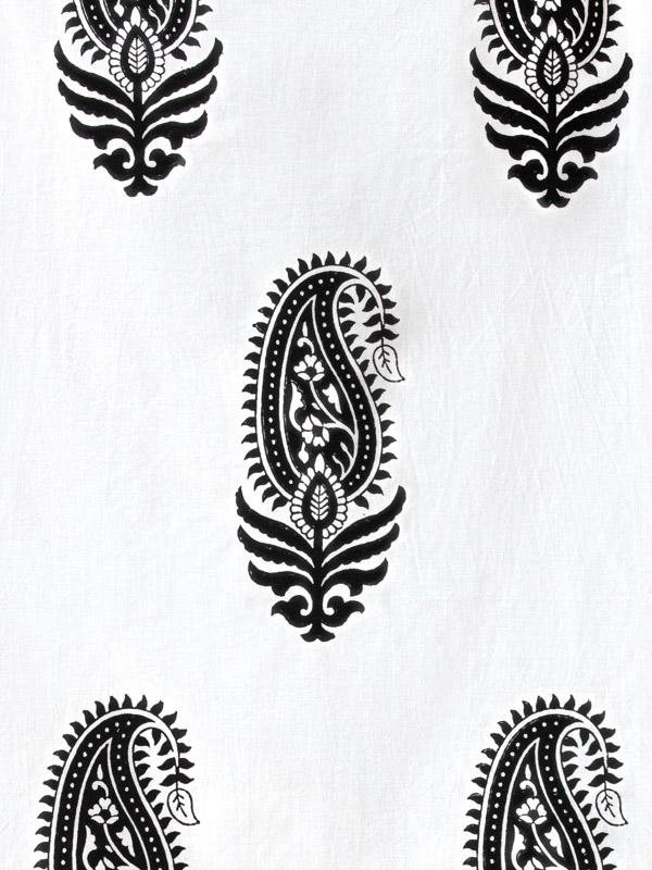 Black And White Fabric Swatch Paisley Modern Saffron
