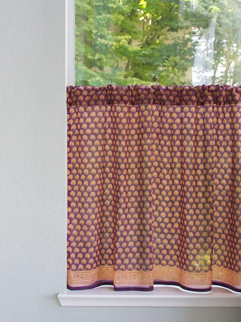Purple Tier Curtain, India Kitchen Tier Curtains, Floral Kitchen Cafe  Curtains, Kitchen Window Treat | Saffron Marigold