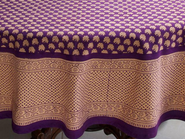 Purple Moon ~ Floral Indian Sari Print Round Table Cloths