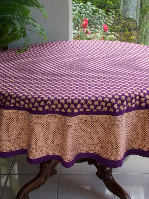 Floral Tablecloth, Indian Tablecloth, Purple Tablecloth, 70 Round  Tablecloths, 90 Round Tablecloth | Saffron Marigold