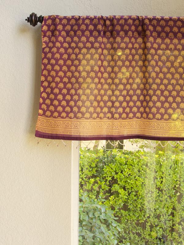 Purple Fl Fabric Beaded Window Valance Kitchen Bathroom Saffron Marigold