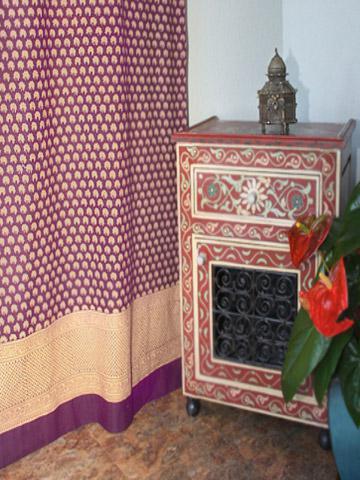 Purple Moon Exotic India Sari Print Fabric Bath Shower Curtain