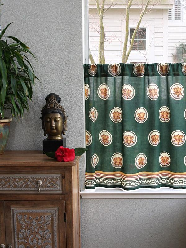 Pool Of Tranquility ~ Floral Lotus Green Sheer Kitchen Curtain