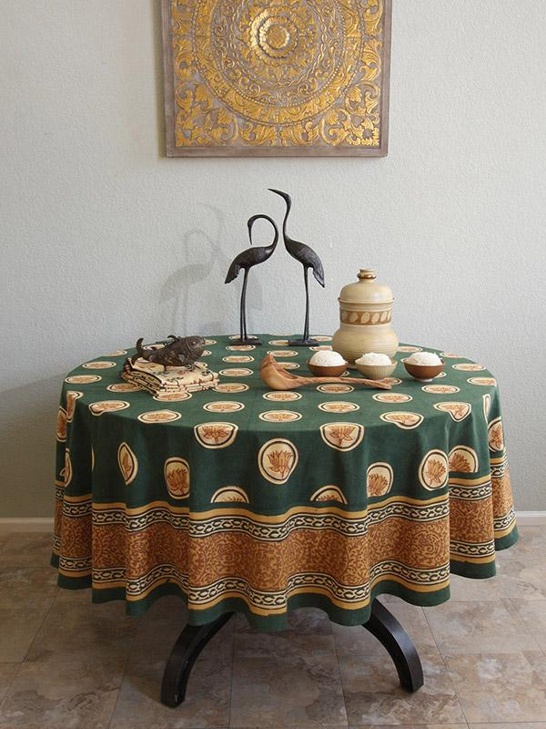Pool Of Tranquility ~ Floral Lotus Green Round Tablecloth