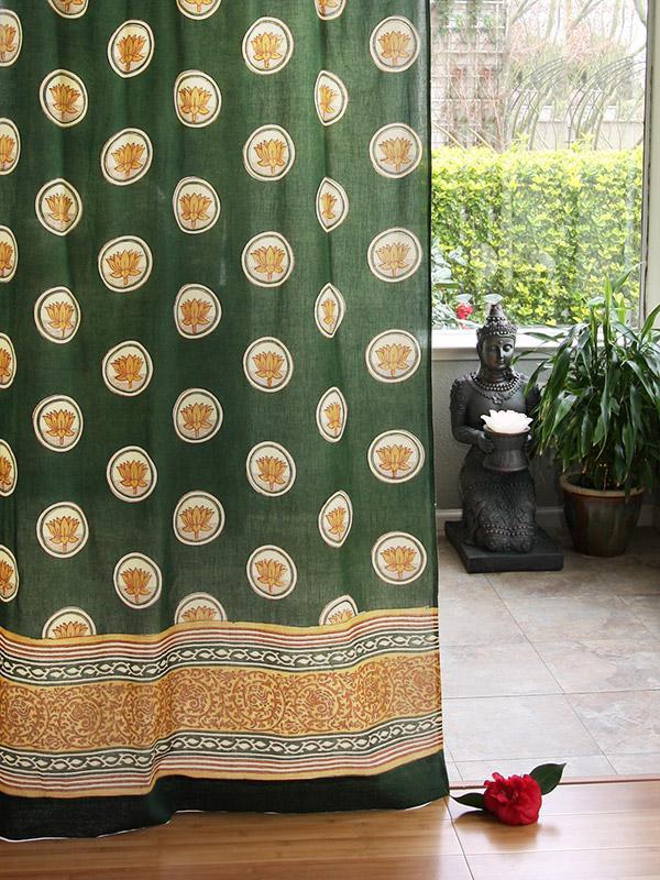 Floral Lotus Sheer Curtain Panel Green Asian Curtain Zen