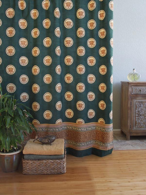 Floral Lotus Shower Curtain Green Asian