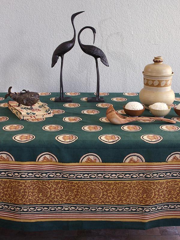 Floral Lotus Tablecloth Green Asian Tablecloth Zen