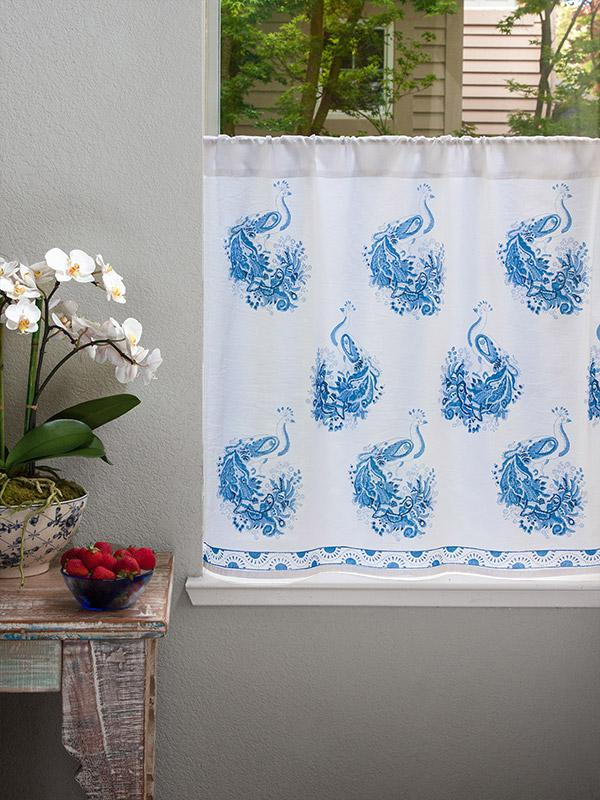 White Blue Curtain Kitchen Curtains Vintage Curtain