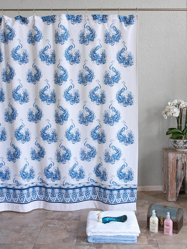 White and Blue Shower Curtains, Moroccan Shower Curtains, quatrefoil ...