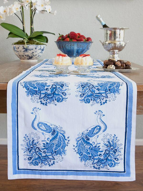 Blue And White Table Runner Moroccan Runner Vintage Table Runner