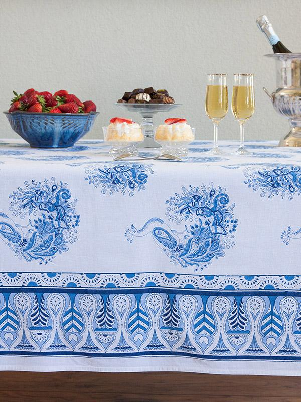 Peacock Tales ~ White Blue French Toile Peacock Tablecloth