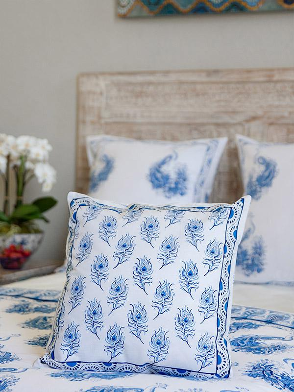 Peacock Tales(CP)~ White Blue French Toile Peacock Cushion Cover