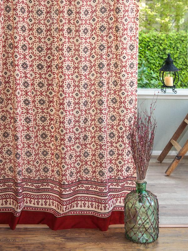Red Black Curtain Panel Geometric Curtain Kilim Curtain