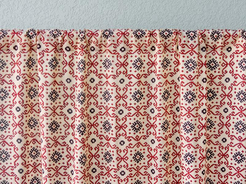 Ruby Kilim (CP) ~ Red Black Kilim Geometric Sheer Curtain Panel