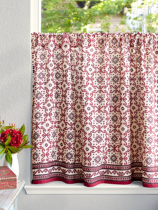 Geometric Red Black Kitchen Curtains, Patterned Kitchen Curtains