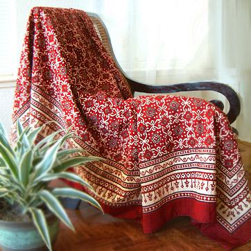 Rustic Red Black Designer Cotton King Quilt Bedspread Coverlet :  india bedding rustic bedspread