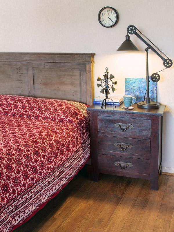 Ruby Kilim ~ Rustic Red Black Designer Quilted Bedspread