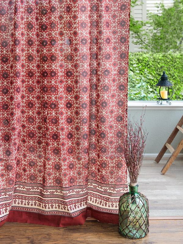 Red And Black Sheer Curtains Cotton Rustic Lodge