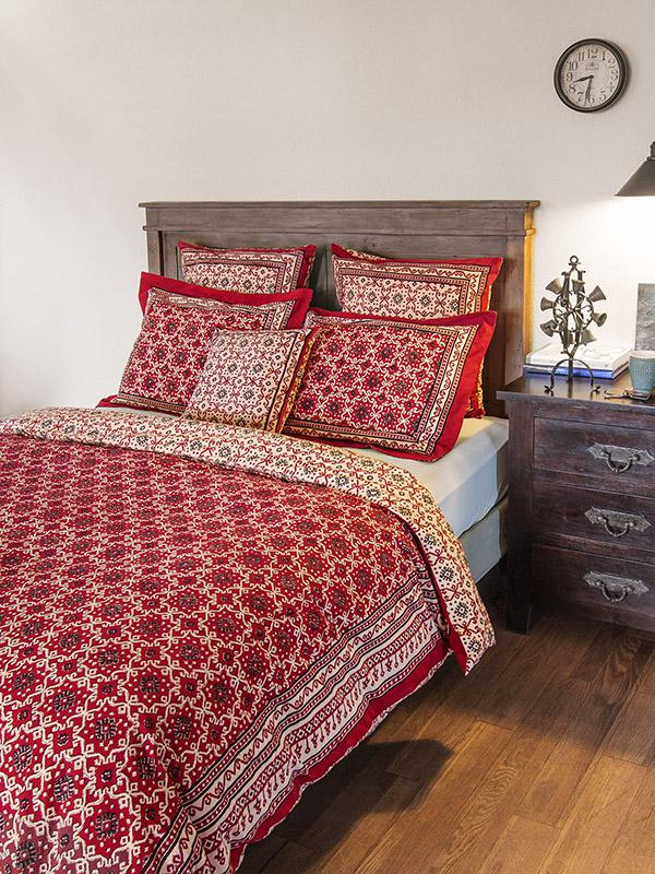 Ruby Kilim Rustic Red Black Lodge Cabin Duvet Cover