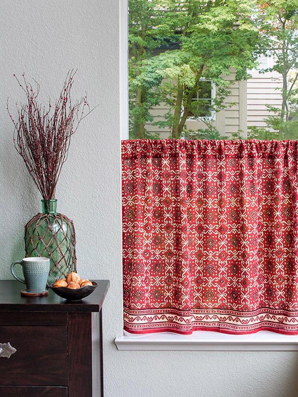 Red Kitchen Tier Curtain Rustic Kilim Saffron Marigold