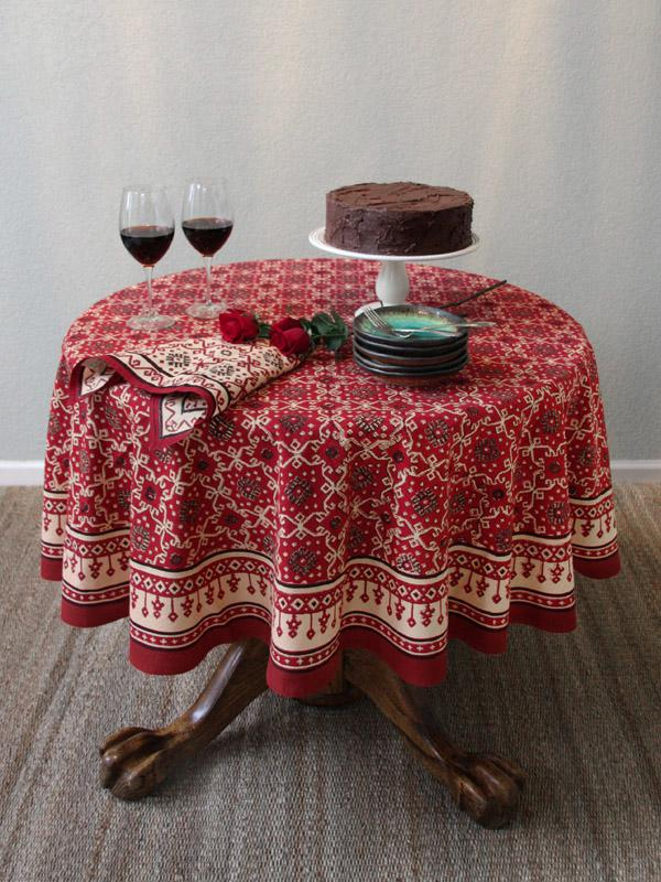 Ruby Kilim ~ Rustic Red Holiday Decorative Round Tablecloth