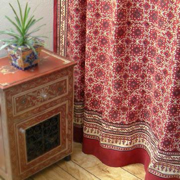 Ruby Kilim Designer Luxury Red Black Fabric Shower Curtain